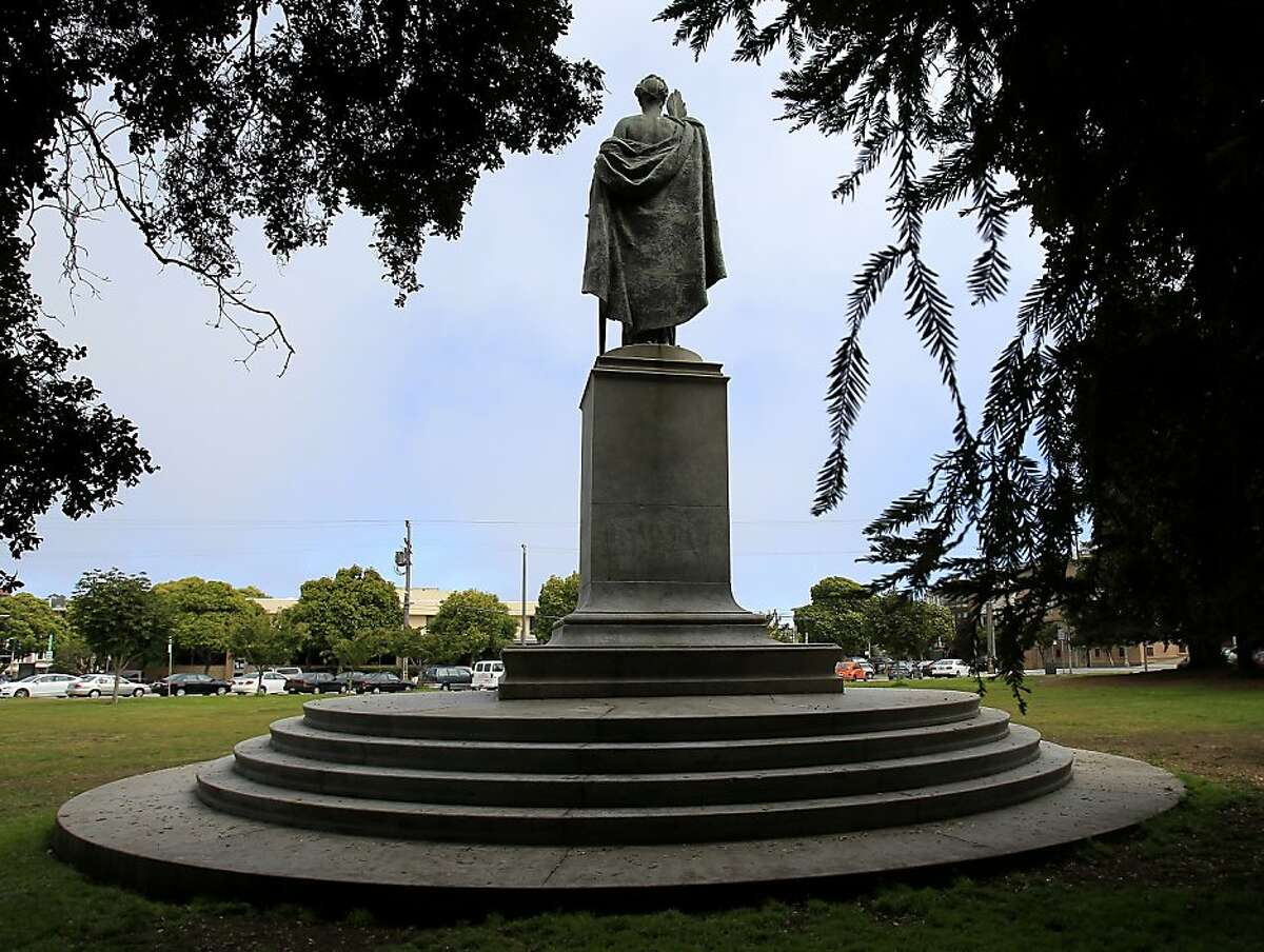 The McKinley monument as seen from a tree covered area popular with the homeless Tuesday August 27, 2013. The William McKinley monument in San Francisco's eastern portion of the Panhandle has been plagued with graffiti for years, but now the San Francisco Arts Commission is planning improvements.