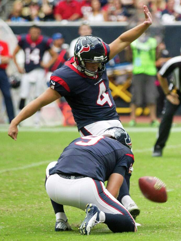 Randy Bullock, who converted a trio of second-quarter field goals against the Saints on Sunday, proved his leg is healthy. Photo: Brett Coomer, Staff / © 2013  Houston Chronicle