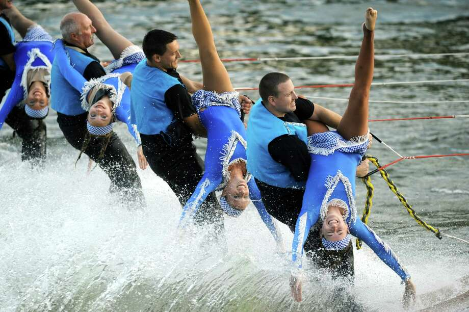 Members of the U.S. Water Ski Show Team perform on the Mohawk River at Jumpin' Jacks on Tuesday Aug. 27, 2013 in Scotia, N.Y. (Michael P. Farrell/Times Union) Photo: Michael P. Farrell / 00023548A