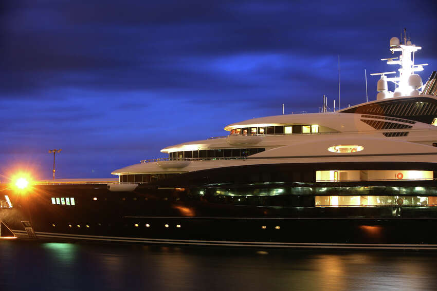The Serene, a 440-foot yacht owned by Russian vodka mogul Yuri Scheffler, is moored at Pier 90 on the Seattle waterfront. The $330 million mega yacht and its crew of more than 50 have drawn lots of attention in Seattle. The ship, with two helicopter landing pads and a submarine tender, is reported to be the largest private yacht to ever dock in Seattle. Photographed on Tuesday, Aug. 27, 2013. 2013.