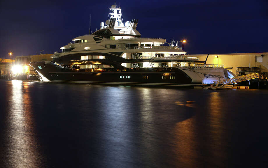 The Serene, a 440-foot yacht owned by Russian vodka mogul Yuri  Scheffler, is moored at Pier 90 on the Seattle waterfront. The $330  million mega yacht and its crew of more than 50 have drawn lots of  attention in Seattle. The ship, with two helicopter landing pads and a  submarine tender, is reported to be the largest private yacht to ever  dock in Seattle. Photographed on Tuesday, Aug. 27, 2013. 2013. Photo: JOSHUA TRUJILLO, SEATTLEPI.COM / SEATTLEPI.COM