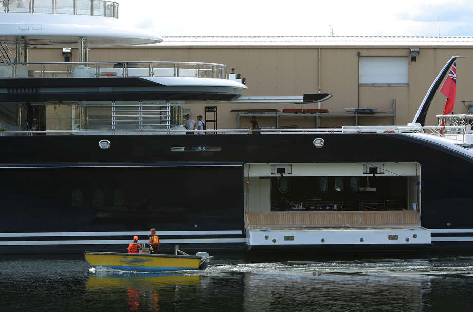 The Serene, a 440-foot yacht owned by Russian vodka titan Yuri  Scheffler, is shown docked at Pier 90 on the Seattle waterfront. The  $330 million mega yacht and its crew of more than 50 have been docked in  Seattle, getting much attention. The ship, with two helicopter landing  pads and a submarine tender, is reported to be the largest private yacht  to ever dock in Seattle. Photographed on Tuesday, August 27, 2013.  2013. Photo: JOSHUA TRUJILLO, SEATTLEPI.COM / SEATTLEPI.COM