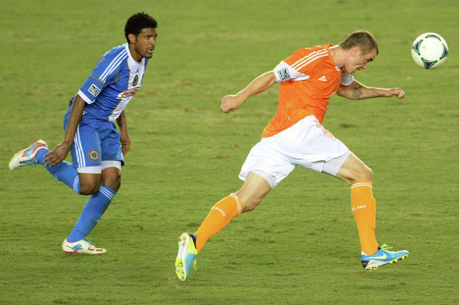Dynamo forward Cam Weaver, shown here in action against the Union on July 6, tallied two goals in Tuesday's CONCACAF Champions League contest. Photo: Smiley N. Pool, Houston Chronicle / © 2013  Houston Chronicle