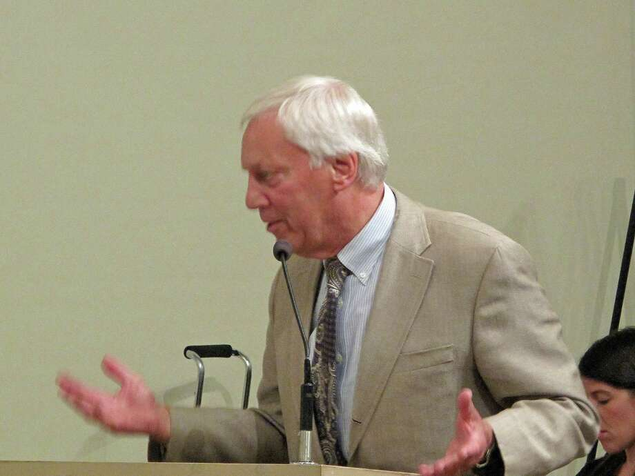 Dr. Sigurd Ackerman, president of Silver Hill Hospital, spoke in favor of the organization's plans for expansion at Tuesday night's Planning and Zoning Commission meeting. Photo: Tyler Woods