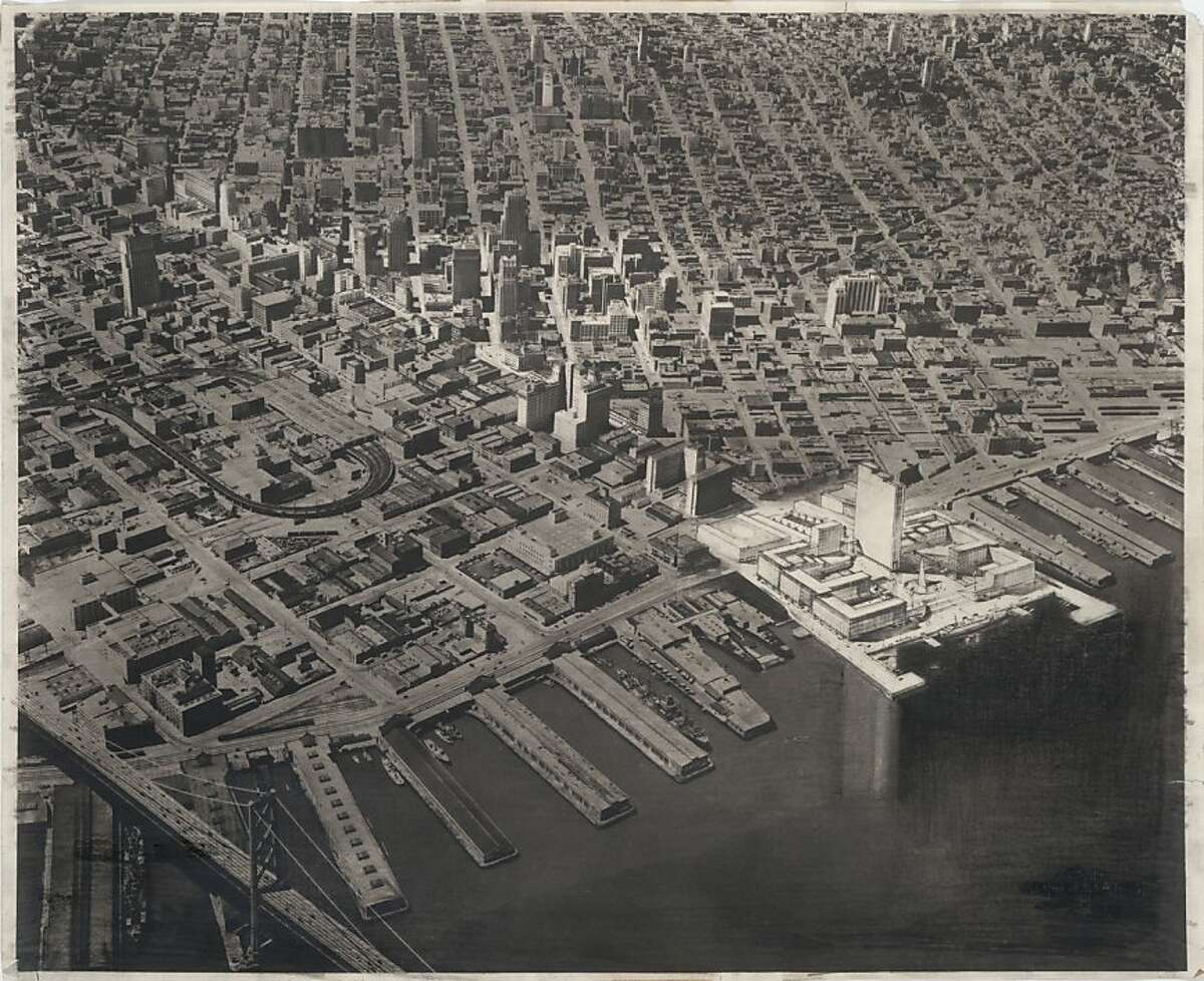 The World Trade Center proposed in 1951 for San Francisco, if it had been built, would have replaced the Ferry Building and the foot of Market Street with a nine-square-block development topped by a 30-story tower of