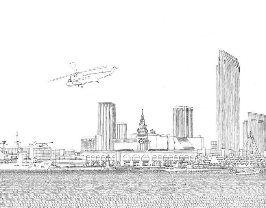 San Francisco's Northern Waterfront Plan in 1968 proposed saving and restoring the Ferry Building, but framing it with new buildings to bring activity to the waterfront. Photo: See Special Instructions