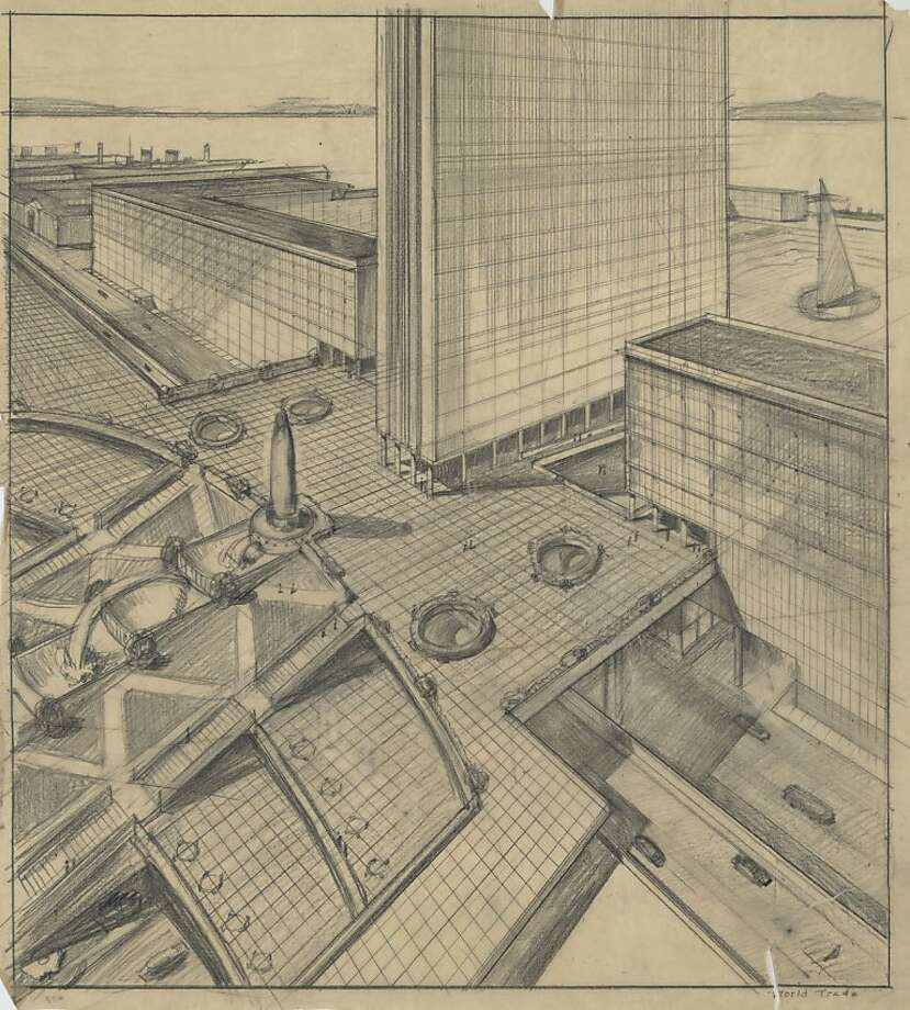 "The World Trade Center proposed in 1951 for San Francisco, if it had been built, would have replaced the Ferry Building and the foot of Market Street with a nine-square-block development topped by a 30-story tower of ""magnificent grandeur."" The architect was William Merchant, and the backers included California Governor Earl Warren. Photo: See Special Instructions"