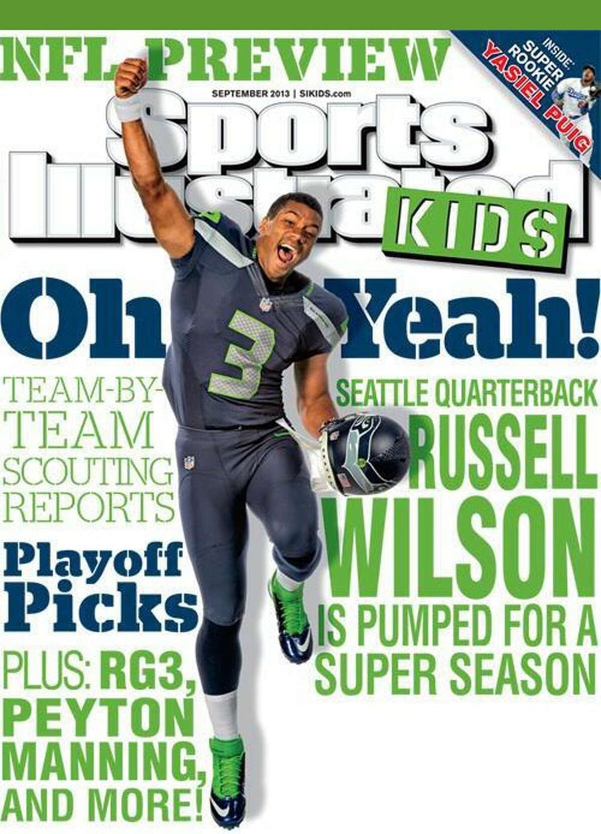 Russell Wilson leaped for joy to be on the cover of the September issue of Sports Illustrated Kids.