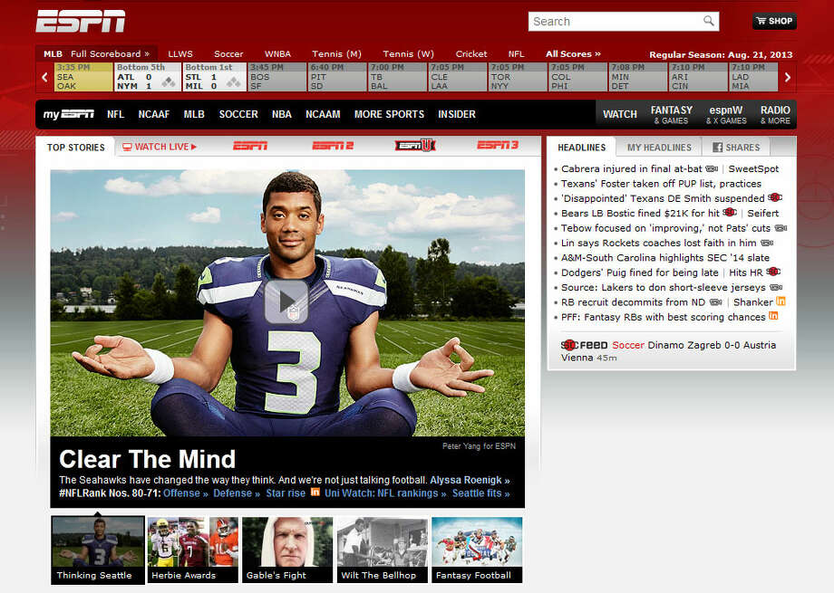 Russell Wilson was featured on ESPN.com when the network's feature on the Seahawks was released Aug. 21. Photo: Screenshot, ESPN.com