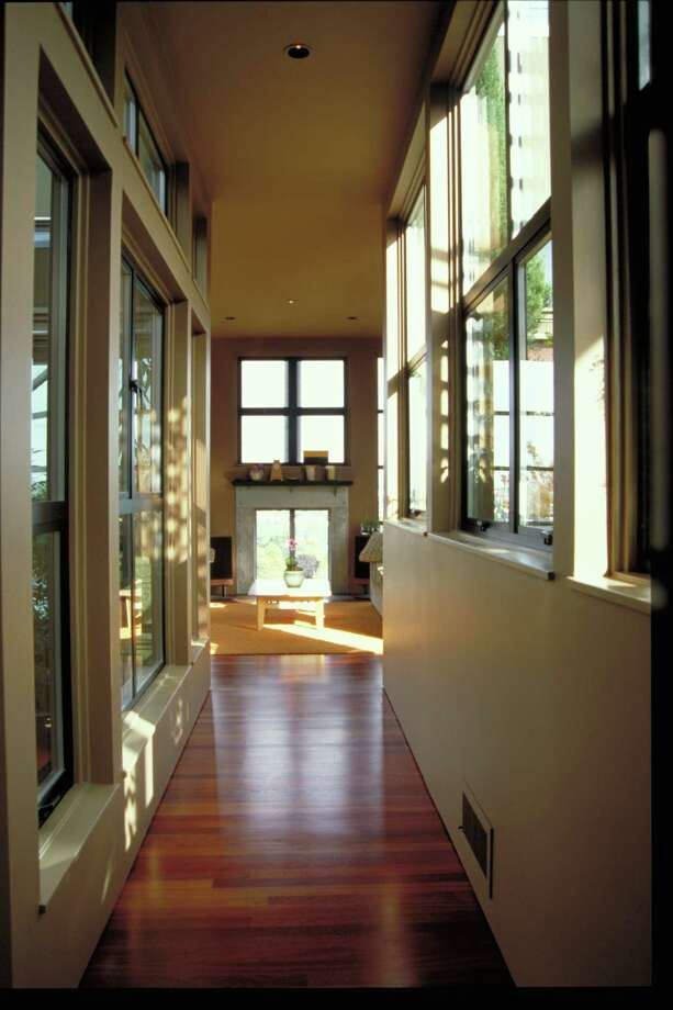 Hallway of Atrium house, 3202 10th Ave. W., in Seattle, by Castanes Architects. Photo: Castanes Architects