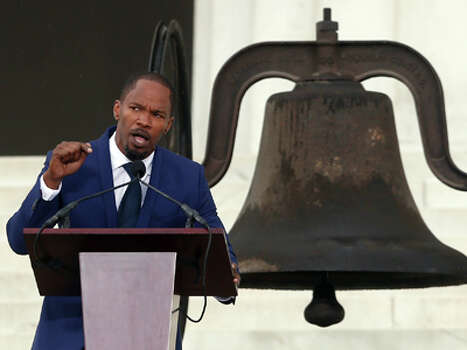 Actor Jamie Foxx speaks at the 50th Anniversary of the March on Washington where Martin Luther King, Jr., spoke in front of the Lincoln Memorial in Washington, Wednesday, Aug. 28, 2013. Photo: Charles Dharapak, AP / AP