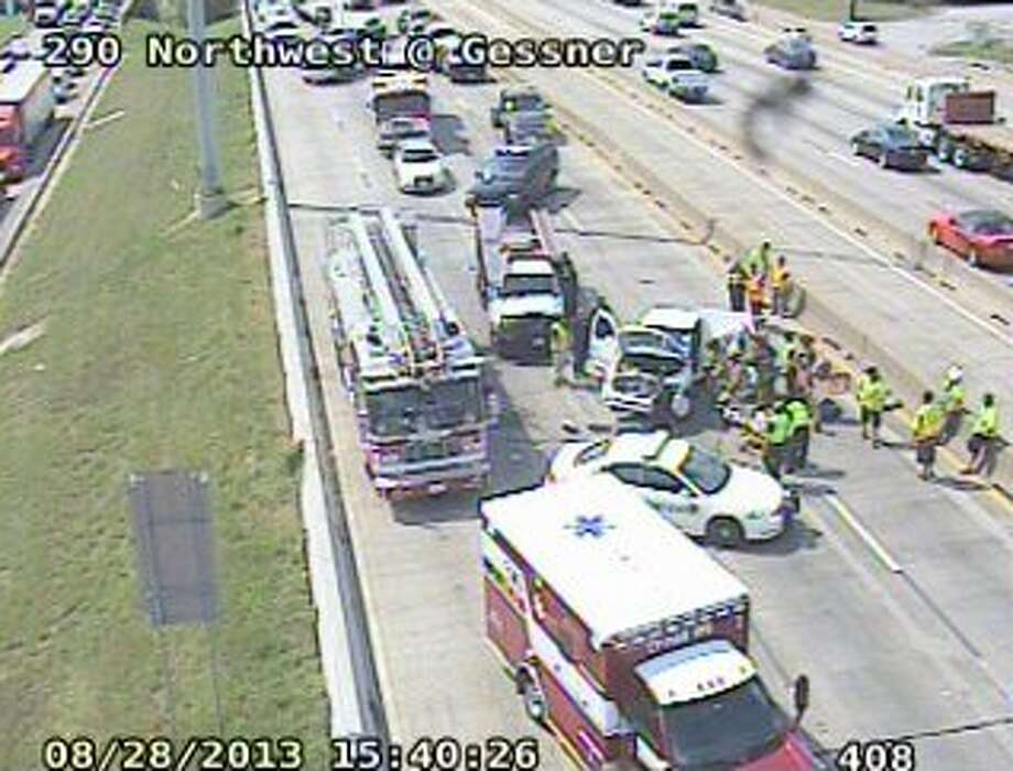 Injuries were reported in a two-car wreck that closed the inbound lanes of 290 Aug. 28. (Houston TranStar)