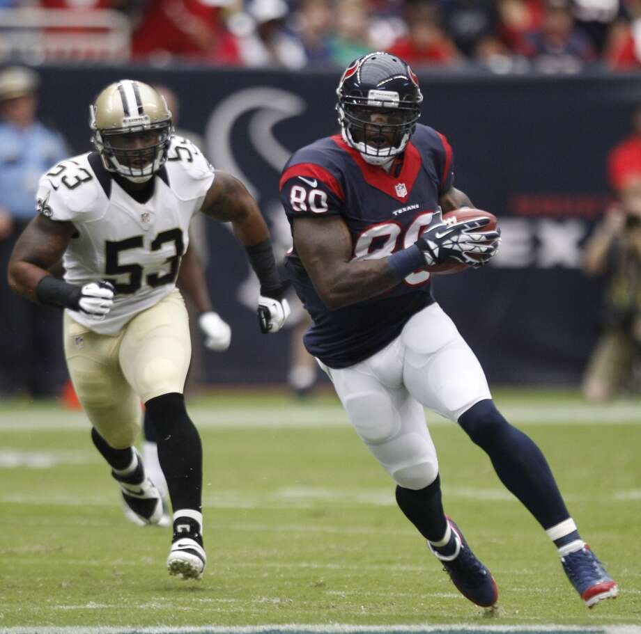 2013  Aug. 25: Saints 31, Texans 23  Andre Johnson caught seven passes for 131 yards as the first team offense looked strong in the first half. Photo: Brett Coomer, Chronicle
