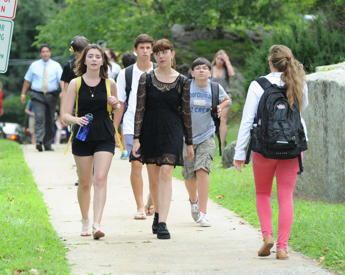 Greenwich High School students during dismissal, Wednesday afternoon, August 28, 2013. A Greenwich High School sophomore, widely reported to have been the victim of bullying, committed suicide after the first day of classes Tuesday. Bartlomiej