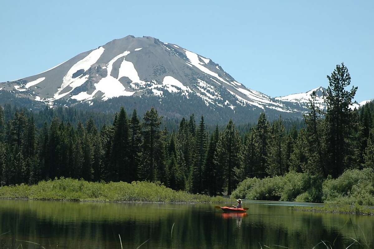 Fly fishing on Manzanita Lake with Mt Lassen in the background, July 26, 2011.