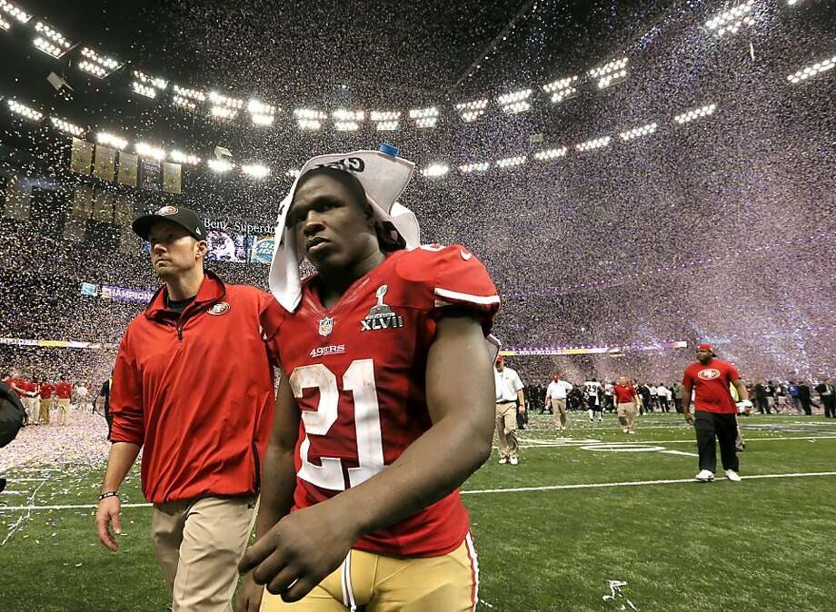 Running back Frank Gore leaves the Superdome field after the 49ers lost Super Bowl XLVII in February. If the history of Super Bowl losers holds form, the 49ers face long odds of returning to the title game. Photo: Michael Macor, The Chronicle