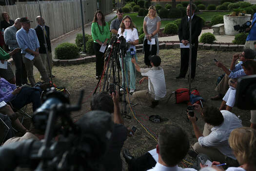 Joleen Cahill addresses the media after Maj. Nidal Hasan is sentenced to death for capital murder at trial in Fort Hood, Texas, Wednesday, Aug. 28, 2013.  Photo: Jerry Lara, San Antonio Express-News / ©2013 San Antonio Express-News