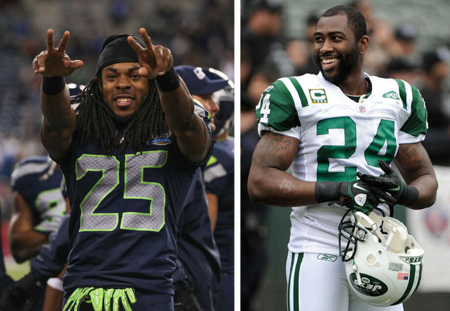 Seahawks cornerback Richard Sherman, pictured at left, has gained notoriety for not only being one of the best corners in the NFL, but for being a bit of a loudmouth. On Wednesday, he got into a spat on Twitter with Jets CB Darrelle Revis, who before missing most of the 2012 season with injuries was largely considered to be the best cornerback in the league.  Well, as you might imagine, their public argument got some attention Wednesday on the Web. Click through the gallery for a blow-by-blow recap of their Twitter slap-fight.  - Sherman on Twitter - Revis on Twitter  Photo: Otto Greule Jr [left], Thearon W. Henderson [right], Getty Images