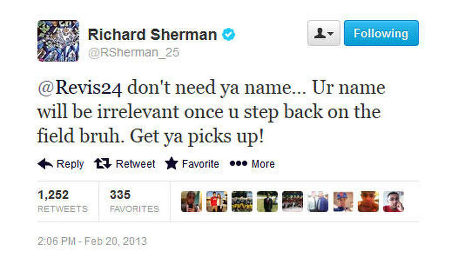 Sherman bites, and starts off with some fightin' words.  Photo: Screenshot, Twitter