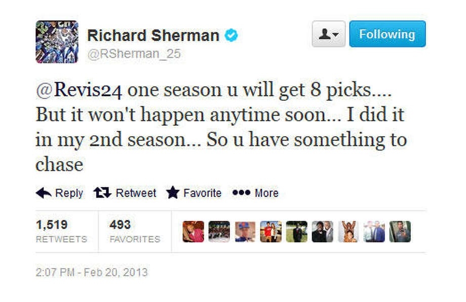 Sherman brags about the eight interceptions he got in 2012.  Photo: Screenshot, Twitter