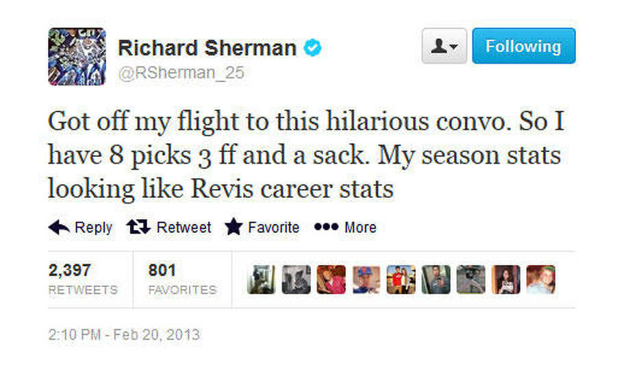 For the record, Revis has 19 career picks, one forced fumble and one sack over six years. He also as 97 passes defended, versus Sherman's career 41.  Photo: Screenshot, Twitter