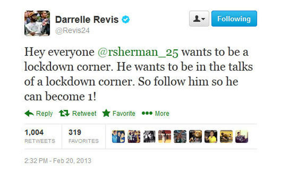 Revis says Sherman ain't an elite cornerback yet.  Photo: Screenshot, Twitter