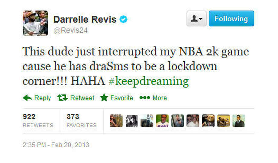 And apparently Revis was in the middle of playing a video game.  Photo: Screenshot, Twitter