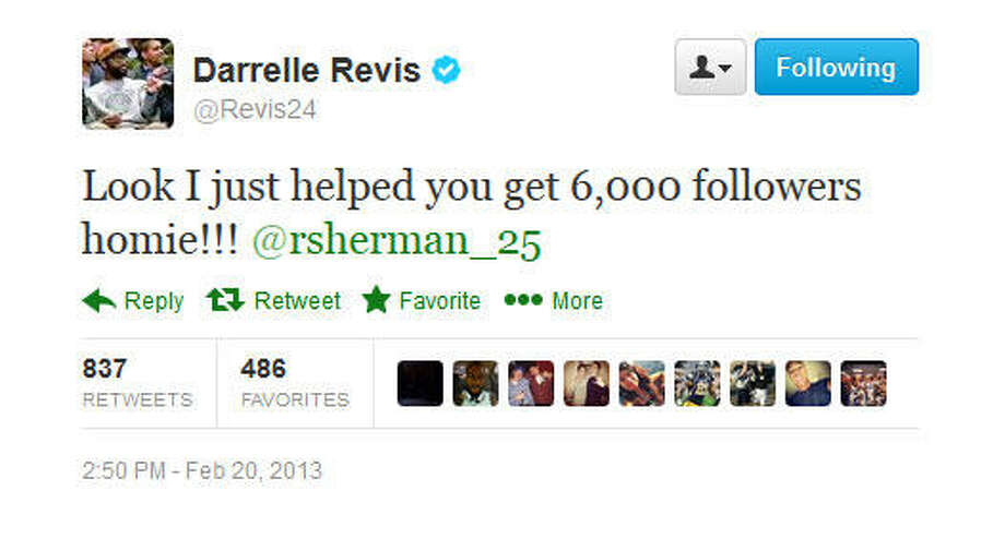 As of 4:30 p.m. Wednesday, Sherman had more than 91,000 followers on Twitter; he got a boost from this argument. Revis had more than 339,000.  Photo: Screenshot, Twitter
