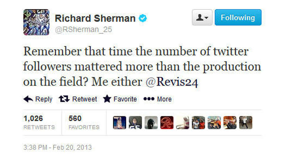 Sherman fires back.  Photo: Screenshot, Twitter