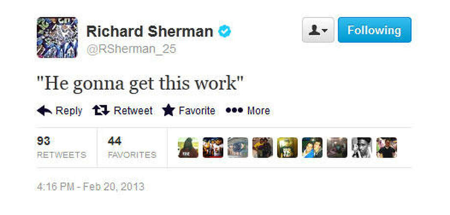 Sherman quotes the famous rap lyric by Loaded Lux.  Photo: Screenshot, Twitter