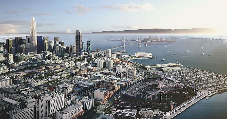 Earlier renderings of the new Warriors arena. The venue will be located on Piers 30-32 on the waterfront in San Francisco. Photo: Snøhetta & AECOM