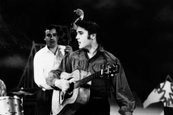 "Elvis Presley performed on the ""Ed Sullivan Show"" three times. This was his first on  Sept. 9, 1956, photo.    (AP Photo/Museum of Television & Radio)"