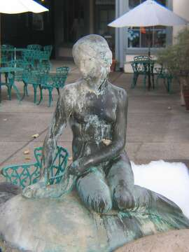 Copy of Copenhagen's Little Mermaid statue on Mission Drive in Solvang.