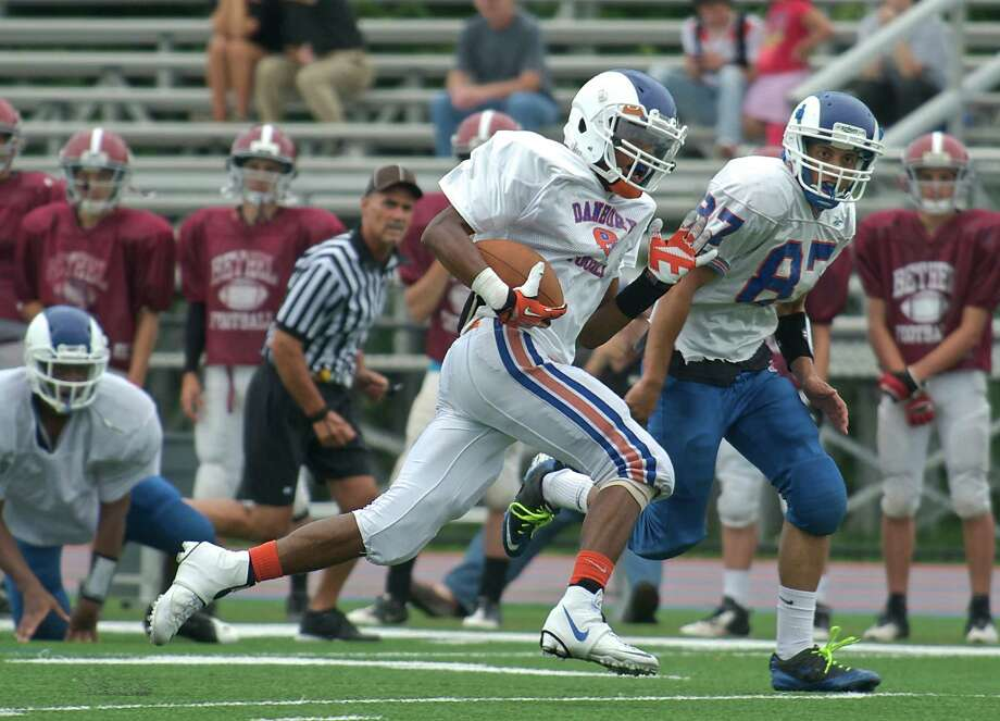 Danbury High School senior running back Elijah Duffy during a football scrimmage with Bethel High School, Bethel, Conn, on Wednesday August 28, 2013, in Danbury Conn. Photo: H John Voorhees III