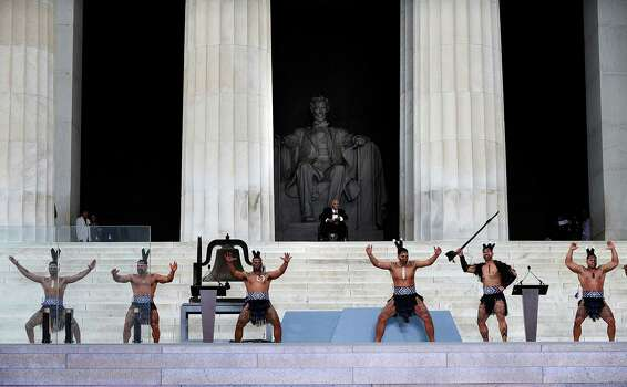 "Dancers from Destiny Church, New Zealand, perform a traditional Maori Haka during the ""Let Freedom Ring"" ceremony to commemorate the 50th anniversary of the March on Washington for Jobs and Freedom at the Lincoln Memorial on the National Mall on August 28, 2013 in Washington, DC. Photo: Olivier Douliery, McClatchy-Tribune News Service / Abaca Press"