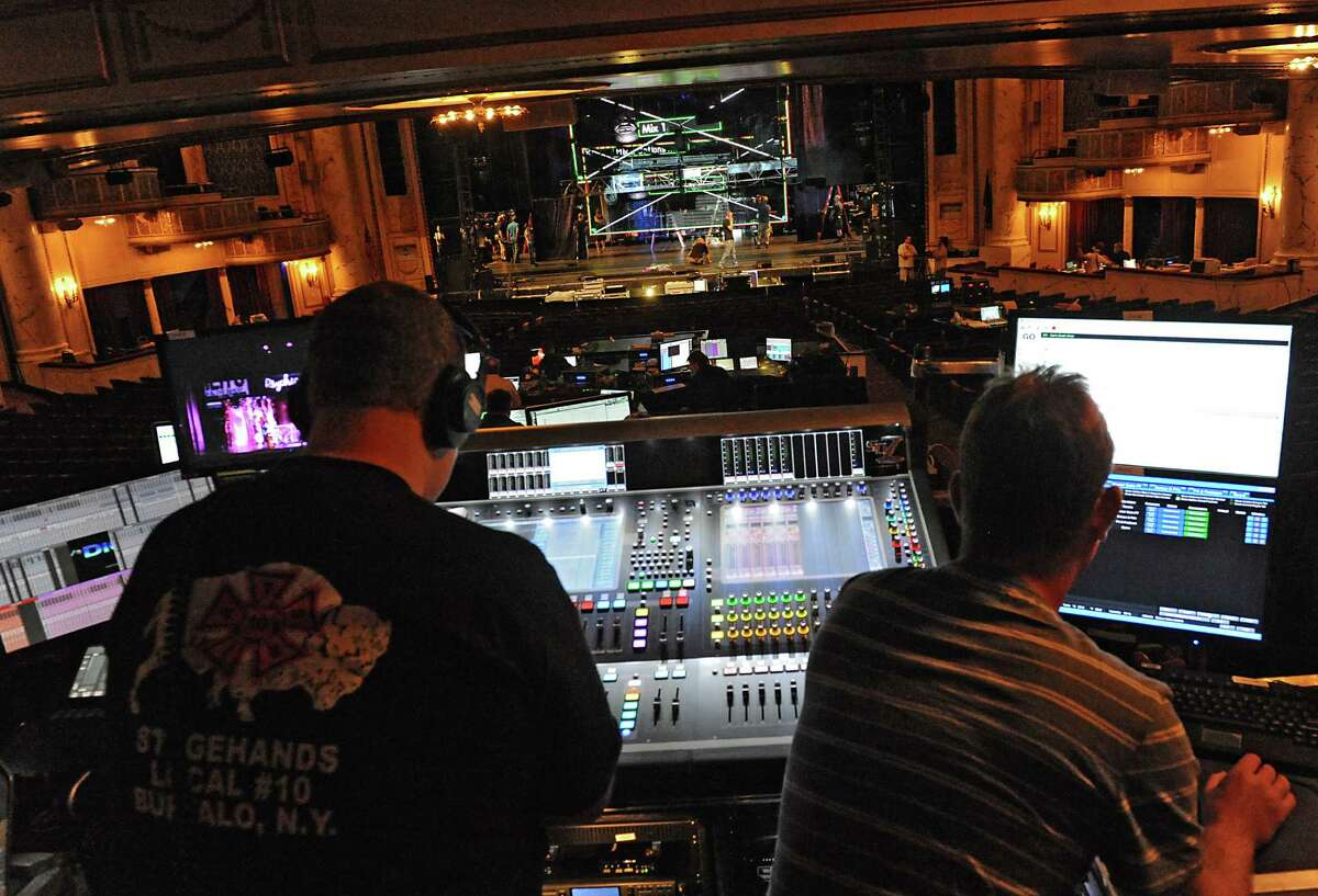 Lighting and sound equipment are ubiquitous for the Broadway play