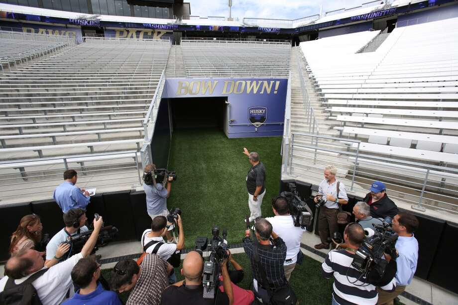 Members of the media are given a tour of the newly renovated Husky Stadium at the University of Washington. The $250 million renovation of the stadium took almost two years to complete. Photographed on Wednesday, August 28, 2013. 2013. Photo: JOSHUA TRUJILLO, SEATTLEPI.COM