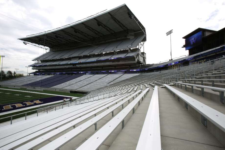 A view looking southeast is shown in the newly renovated Husky Stadium at the University of Washington. The $250 million renovation of the stadium took almost two years to complete. Photographed on Wednesday, August 28, 2013. 2013. Photo: JOSHUA TRUJILLO, SEATTLEPI.COM