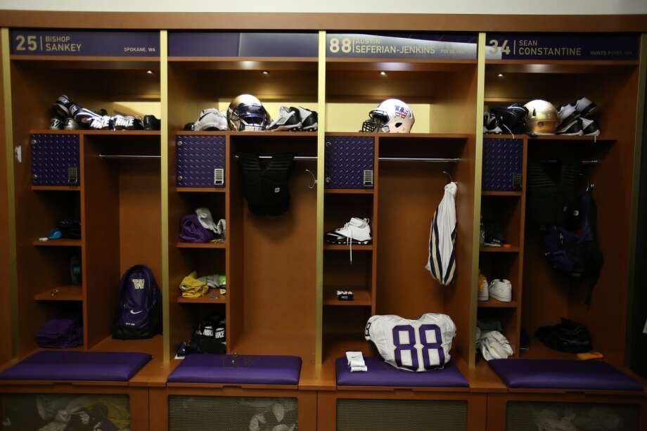 The locker room is shown in the newly renovated Husky Stadium at the University of Washington. The $250 million renovation of the stadium took almost two years to complete. Photographed on Wednesday, August 28, 2013. 2013. Photo: JOSHUA TRUJILLO, SEATTLEPI.COM