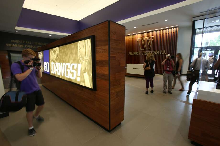 The lobby is shown at the newly renovated Husky Stadium at the University of Washington. The $250 million renovation of the stadium took almost two years to complete. Photographed on Wednesday, August 28, 2013. 2013. Photo: JOSHUA TRUJILLO, SEATTLEPI.COM