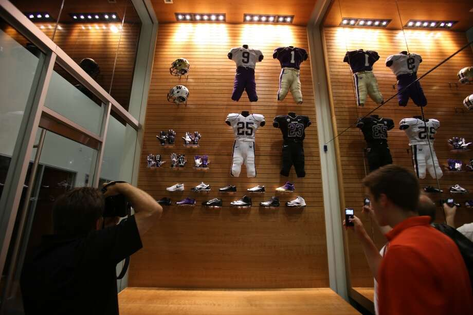 The uniform fitting room is shown at the newly renovated Husky Stadium at the University of Washington. The $250 million renovation of the stadium took almost two years to complete. Photographed on Wednesday, August 28, 2013. 2013. Photo: JOSHUA TRUJILLO, SEATTLEPI.COM