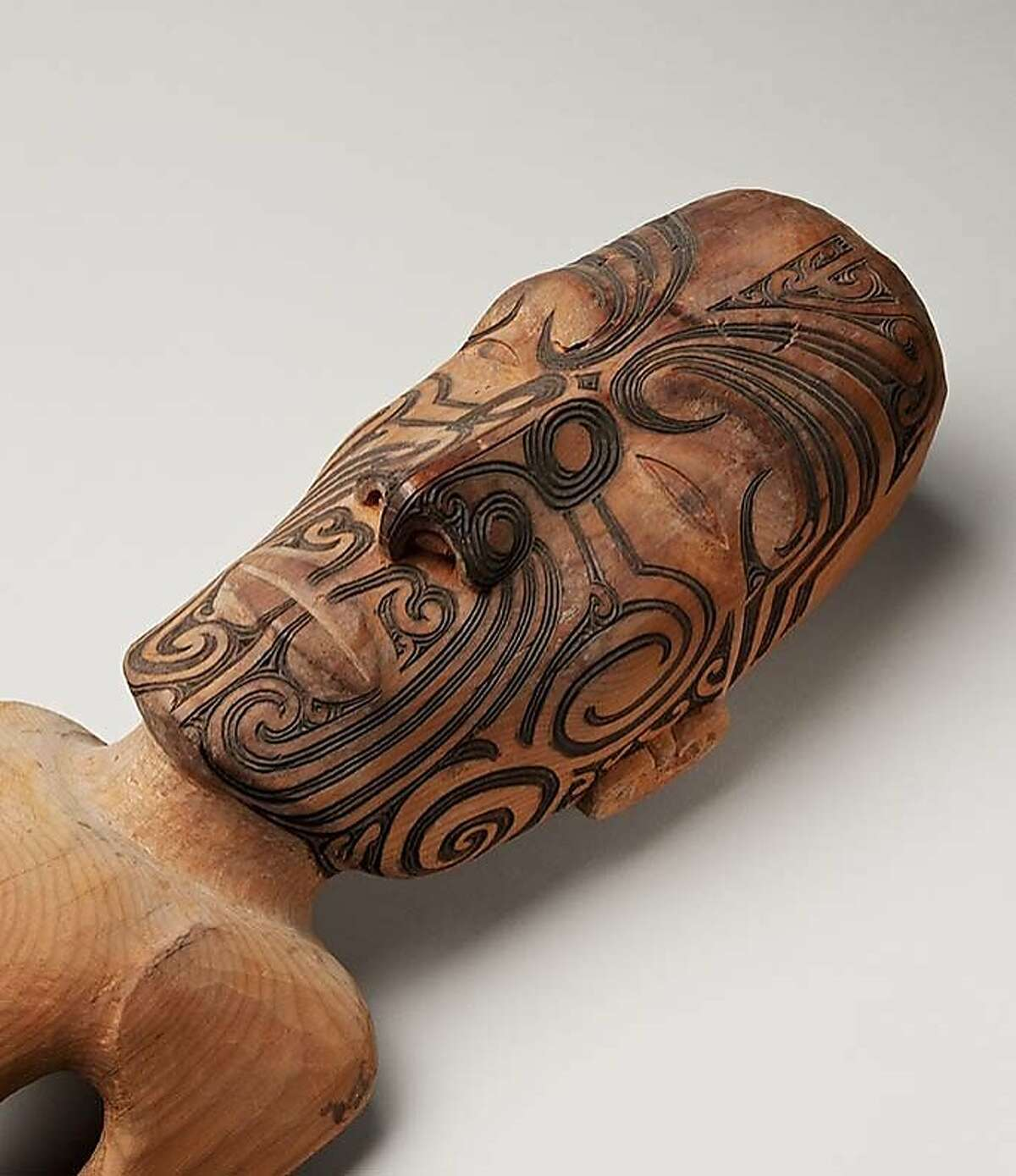 This Maori tekoteko, a carving that represents a chiefly ancestor and was once atop a traditional meetinghouse, will be on display in the Bishop Museum's newly renovated Pacific Hall, reopening Sept. 21.