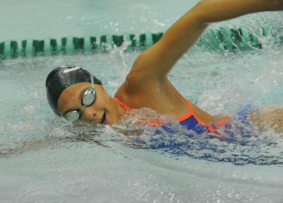 Shenendehowa swimmer Julia Samson works on her crawl stroke during practice on Monday, Aug. 26, 2013 in Clifton Park, N.Y. (Lori Van Buren / Times Union) Photo: Lori Van Buren / 00023637A