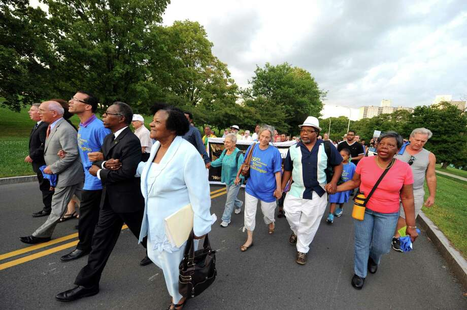 Local civic,labor and civil rights leaders march in celebration of the 50th Anniversary of the Dr. Martin Luther King Jr. I Have a Dream speech on Wednesday Aug. 28, 2013 in Albany, N.Y. (Michael P. Farrell/Times Union) Photo: Michael P. Farrell / 00023649A