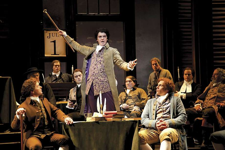 "Jarrod Zimmerman, as Edward Rutledge, makes a passionate appeal to delegates of the Second Continental Congress in the Tony Award-winning musical ""1776,"" coming to ACT. Photo: Juan Davila"