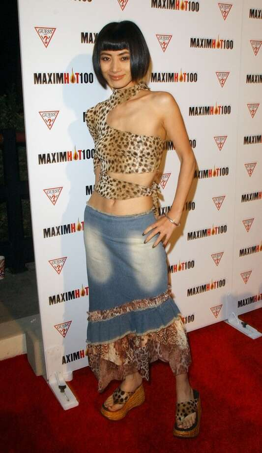 There is nothing okay about Bai Ling's ensemble, not the denim and definitely not the leopard-mauled top. Photo: Michael Caulfield Archive, WireImage