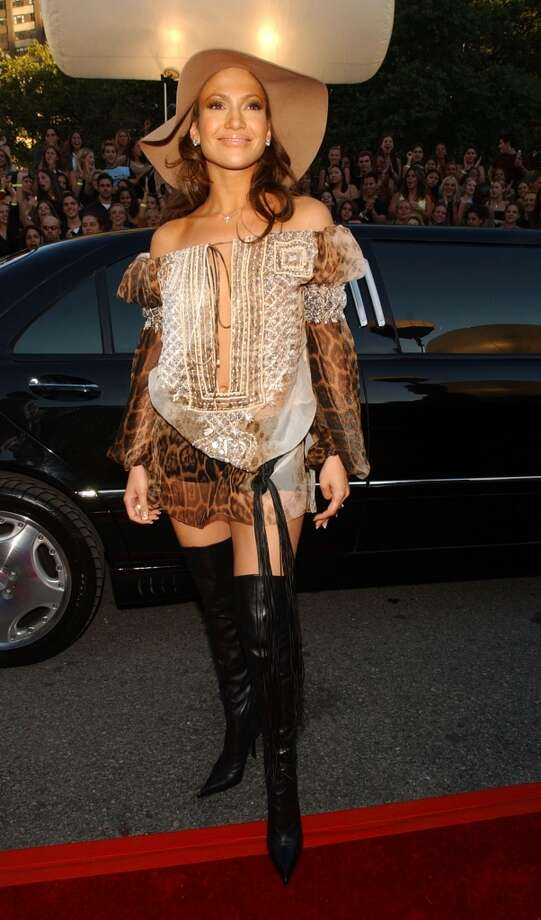 Jennifer Lopez may look radiant (as usual), but her outfit  not so much. Photo: KMazur, WireImage