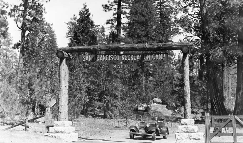 1920s: Our earliest photo of Camp Mather, the San Francisco park in the Sierra. This is the entrance. Assuming that car was fairly new at the time of the photo, I'd place it between 1926 and 1929. Photo: San Francisco Recreation Department