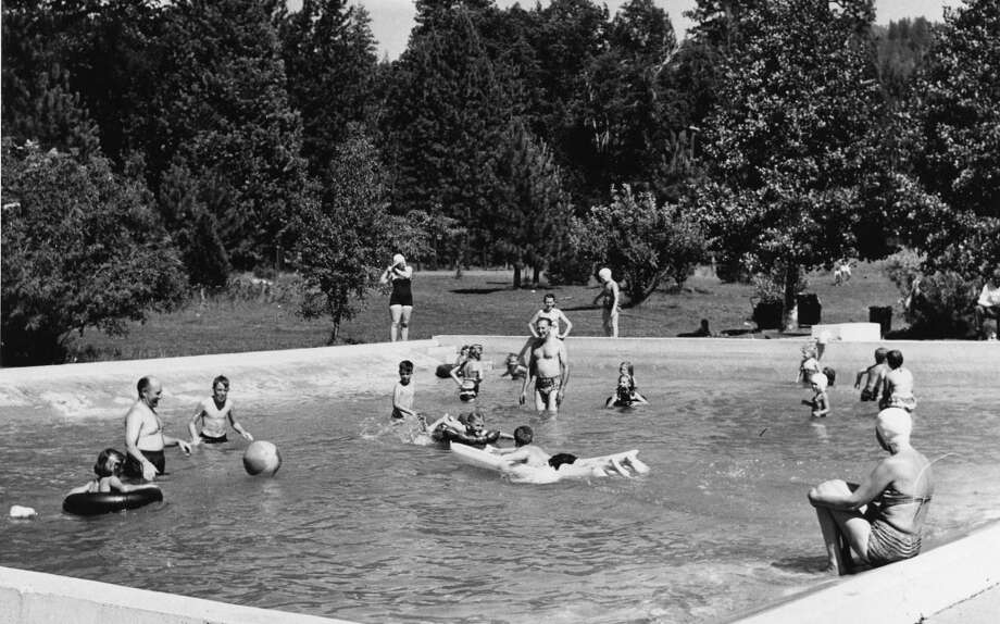April 28, 1964: The outdoor pool at Camp Mather, which looks like it's a foot and a half deep. This was back when beach balls were used as swim toys, and not distractions for Dodgers fans ... Photo: San Francisco Recreation Department