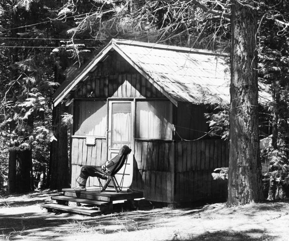 May 30, 1946: One of the cabins in the 1940s, with a guy in a chair who may or may not be dead. Surely these have been redesigned a few times, with space-age polymers and other modern touches ... Photo: San Francisco Recreation Department